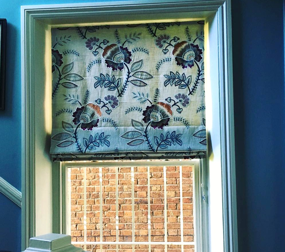 Roman blind in customers own fabric